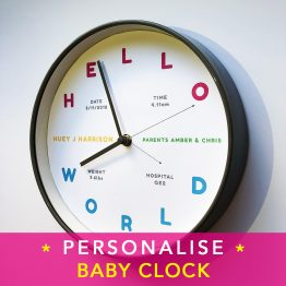 Personalised Baby Clock amberbydesign