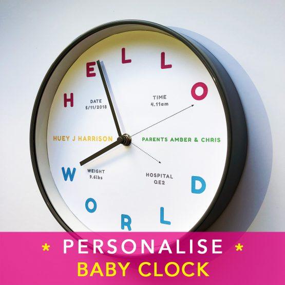 Personalised Baby Clock amberbydesign