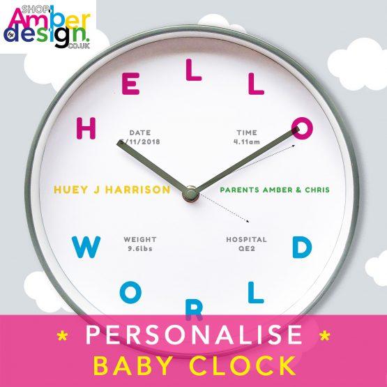 baby clock hello world