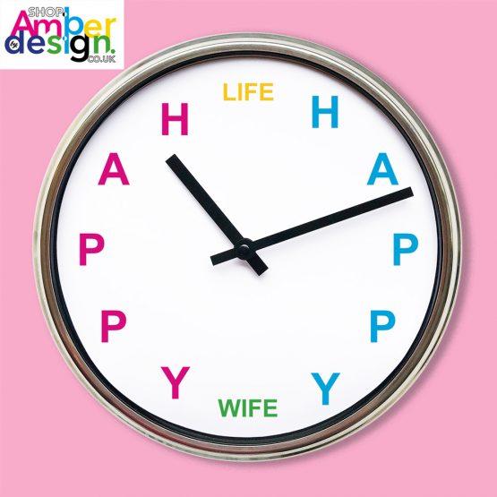 happy wife happy life clock present